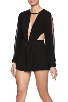 Black long sleeve romper with slit shoulders, deep v front cut out and side cut outs.   Cutout Romper by Evenuel. Clothing - Jumpsuits & Rompers - Rompers Manhattan, New York City New York City