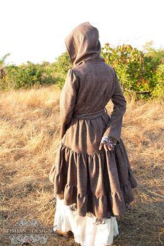 TWILIGHT WOOL JACKET Boho Long coat Hippie by TimjanDesign