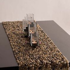 Beach,Pebbles,Stone,Runner,Culinary:Table Runners & Placemats,Beach stones pebbles rock runner tan sand rocks table runner
