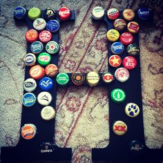 pintrest beer bottle caps   Craftiness / beer bottle cap monogram