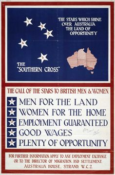 1928 poster inviting British men and women to migrate to Australia Brisbane, Melbourne, Sydney, Vintage Advertising Posters, Vintage Travel Posters, Vintage Advertisements, Vintage Airline, Posters Australia, Australia Immigration