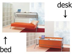 A desk during the day that transforms into bed by night.