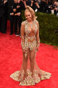 "Image has been digitally processed] Beyonce attends the ""China: Through The Looking Glass"" Costume Institute Benefit Gala at the Metropolitan Museum of Art on May 2015 in New York City. Beyonce Diet, Beyonce Style, Destiny's Child, Revealing Dresses, Popular Dresses, Prom Dresses, Formal Dresses, Red Carpet Dresses, Sheer Dress"