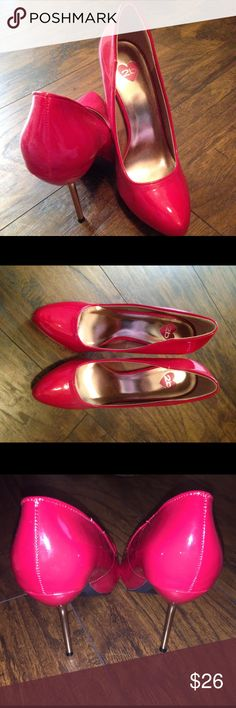 Bebe Red pumps with gold heel Beautiful! Never worn red and gold pumps. Size 8 bebe Shoes Heels