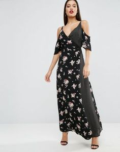 ASOS Wrap Front Maxi Dress with Cold Shoulder in Mixed Print