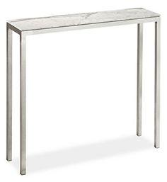 "Portica Console Table 32x8 w/ Venatino marble top | Room & Board - a petite console table...love the stone top option; 8"" deep"