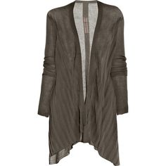 Rick Owens Long fine-knit cotton cardigan ($360) ❤ liked on Polyvore