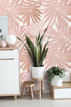 Read the full title Removable Wallpaper Palm Leaves Peel and Stick Wallpaper Blush Pink Self Adhesive Traditional Wallpaper Custom Tropical Wallpaper Non Woven