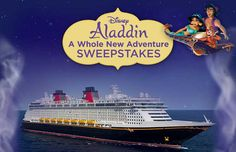 See a whole new world in a whole new way! Enter the Disney Aladdin A Whole New Adventure Sweepstakes for a chance to win a dream vacation for four aboard a Disney Cruise. Click here for details: http://www.disneymovierewards.go.com/promotions/sweepstakes/AladdinSweeps?cmp=DMR|PIN|SWPD|AladdinSweeps  (Sweepstakes ends on 1/31/16)