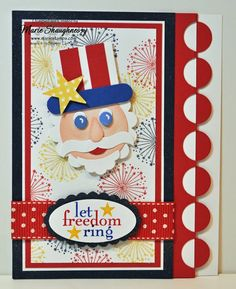 UNCLE SAM CIRCLE PUNCH ART CARD by MarieStamps.com featuring Stampin' Up! punches.