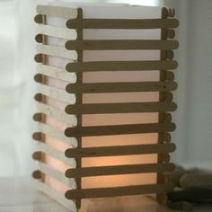 Japanese DIY Ideas and Crafts Inspired by Japan - Japanese Lantern From Lolly Stick Slats - Boxes, H Popsicle Stick Crafts, Popsicle Sticks, Craft Stick Crafts, Wood Crafts, Fun Crafts, Wood Sticks Crafts, Diy Wood, Kids Woodworking Projects, Japanese Paper Lanterns