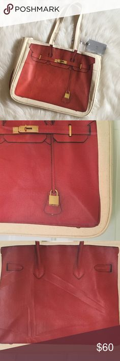 """🆕 Thursday Friday Canvas Tote NWT 🆕 Thursday Friday Cotton Canvas Tote with Red Birkin Print.  NWT Width - 14"""" Height - 11.5"""" Depth - 7.5""""  Measurements are approximate.  100% Cotton.  Spot clean only.  The red print on the back has some marks from being stored.  See photo.  Not damaged.  I'm not sure how to describe so please see 3rd and 4th photos above. Thursday Friday Bags Totes"""