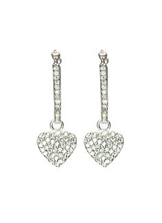 Offering glitz and glamour with a sprinkling of tiny white cubic zirconia stones, these dangling earrings from LeCalla are perfect for wearing from day to night. A small heart hangs from the stone-embellished hook, crafted from durable sterling silver with rhodium plating.