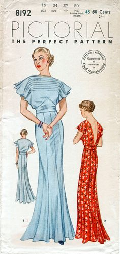 30s 1930s vintage gown sewing pattern Pictorial Review 8192 wedding bridal evening or afternoon dress bust 34 b34 repro