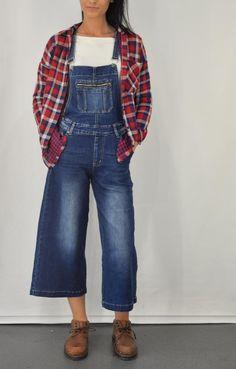 Γυναικείο πουκάμισο καρό από φανέλα POUK-1647 Overalls, Denim, Pants, Jackets, Fashion, Trouser Pants, Down Jackets, Moda, Fashion Styles