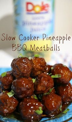 Easy Slow Cooker Pineapple BBQ Meatballs #ad
