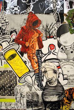 Urban Cake Lady & Ears, Cockatoo Island, Australia, street art online, urban artists, street artists, urban art, graffiti
