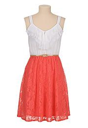 Belted lace skirt chiffon ruffle top Dress - maurices.com