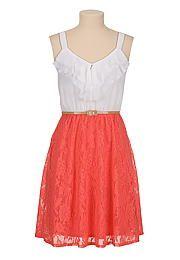 Belted lace skirt chiffon ruffle top Dress - maurices.com