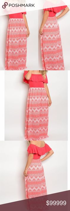 Coral Tribal Off Shoulder Ruffle over Maxi Dress Multiple Sizes  off shoulder ruffled front print Maxi dress Fabric Content: 95% Polyester 5% spandex Made in the USA golden threads Dresses Maxi