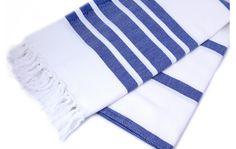 Herringbone Cotton Towel Pestemal with Dark Blue Stripes on White