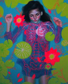 Neon Ophelia ~ AJ Chu is a old high school senior living in New Jersey. She is also exceptionally talented at painting. Art Beat, Illustration Art, Illustrations, Art Graphique, Copics, Art Design, Oeuvre D'art, Artsy Fartsy, Graphic Art