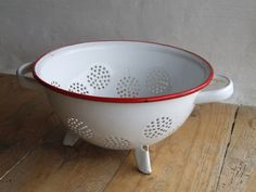 Chippy shabby chic enamel French colander by VintageRetroOddities on Etsy
