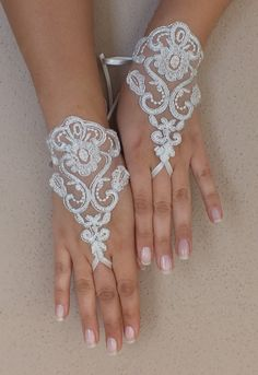 silver frame ivory lace wedding gloves fingerless gloves french lace free ship rose gloves