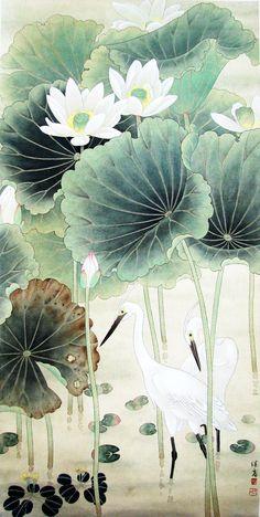 当代画家喻继高工笔花鸟作品选 I would love this in my bathroom. Japanese Painting, Chinese Painting, Lotus Painting, Lotus Art, Art Asiatique, Illustration Art, Illustrations, Art Japonais, Decoupage Vintage