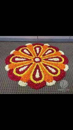 Picture result for diwali decoration FLOWER Indian Rangoli Designs, Rangoli Designs Flower, Rangoli Patterns, Rangoli Designs Images, Rangoli Ideas, Flower Rangoli, Beautiful Rangoli Designs, Flower Designs, Hand Designs