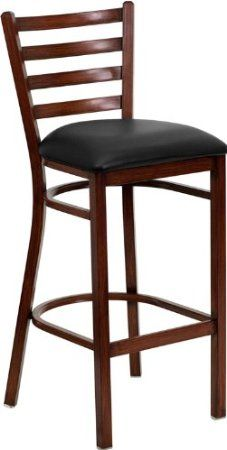 Flash Furniture FD-DG-697BLAD-BAR-MAH-BLKV-GG Hercules Series Mahogany Ladder Back Metal Restaurant Bar Stool with Black Vinyl Seat