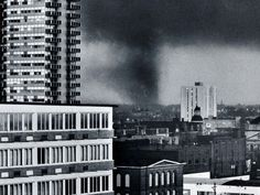Downtown Louisville, Kentucky, as the tornado passed through 40 years ago today on April 3, 1974.