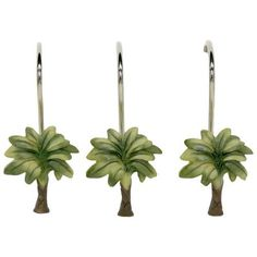 This Bacova Citrus Palm shower curtain hook set is the perfect piece to polish off your tropical bathroom ambiance. Palm Tree Bathroom, Tropical Bathroom Decor, Tropical Home Decor, Tropical Houses, Tropical Interior, Tree Shower Curtains, Shower Curtain Rings, Tropical Architecture, Tropical Pattern