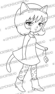 Menina do gato e do rato Selo Digital, Kitty Digi Stamp, Kawaii Anime bonito, Fantasia Contos de fadas, arte das crianças, página da coloração, Instant download