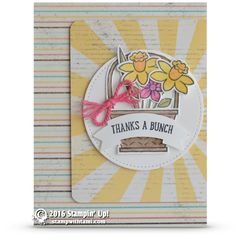 CARD: Thanks a Bunch from the Basket Bunch set   Stampin Up Demonstrator - Tami White - ——— S U P P L I E S ———  • Basket Bunch Photopolymer Stamp Set143186 • Whisper White 8-1/2X11 Card Stock #100730 • Cupcakes & Carousels Designer Series Paper Stack142744