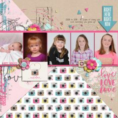 Now & Then | Instalove - Shawna Clingerman and Studio Basic | #scrapbook #digiscrapping #sweetshoppedesigns