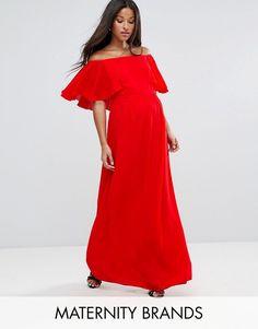 372970cf857f Queen Bee Maternity Off Shoulder Ruffle Maxi Dress Pregnancy Wardrobe