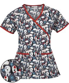 Looking for veterinarian scrubs? Then the UA Puppy Love Granite Mock Wrap Scrub Top is perfect for you. Shop for this and other animal print scrubs today! Vet Tech Scrubs, Medical Scrubs, Veterinarian Scrubs, Stylish Scrubs, Black Scrubs, Medical Uniforms, Scrub Tops, Girls Out, Puppy Love