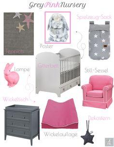 Grey Pink Nursery Interior Decoration Inspiration Moodboard Selection