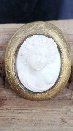 Carved lava cameo  Bacchus cameo  10 kt gold by SteamyAntiquities