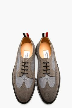 Thom Browne Grey Suede Anchor Brogues