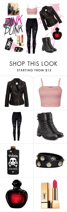 """""""#3"""" by mjjess ❤ liked on Polyvore featuring Anine Bing, WearAll, WithChic, Philosophy di Lorenzo Serafini, Versace, Yves Saint Laurent, Pink and Punk"""