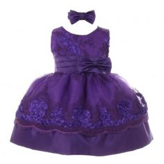 Little Girls Purple Floral Sequin Embroidered Headband Flower Girl Dress 2-4T
