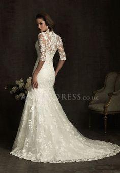 mermaid lace wedding dresses with sleeves   Neck Mermaid Floor Length Zipper up Lace Half Sleeve Wedding Dress # ...