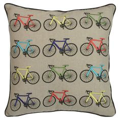 Featuring images of coloured bicycles, this cushion adds a soft touch to any scheme. Product: Cushion Construction Ma...