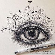Рисунок глаза гелевой ручкой