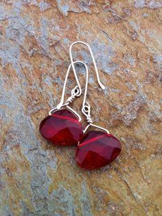 Red Crystal Earrings by JoJosgems on Etsy, $17.00
