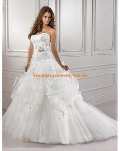Luxuriöse Brautkleider 2012 aus Organza und Spitze Prinzessin Brautkleid