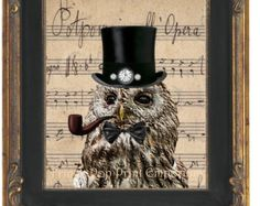 Steampunk Owl Art Print 8 x 10 - Victorian Owl With Top Hat and Pipe - Altered Art Collage