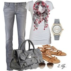 Grey Skinny Jeans, white top, scarf